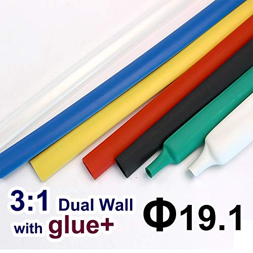 Graven 1.22meter/lot 19.1mm 3:1 Dual Wall Heat Shrink Tube with Thick Glue heatshrink Tubing Adhesive Lined Cable Sleeve Wrap Wire Kits - (Color: White) ()