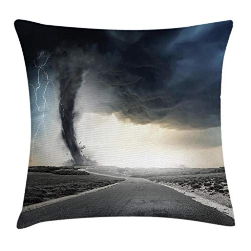 (Ambesonne Nature Throw Pillow Cushion Cover, Black Tornado Funnel Gas and Lightning Rolling on The Road Fume Disaster Monochrome Print, Decorative Square Accent Pillow Case, 18 X 18 Inches, Grey)