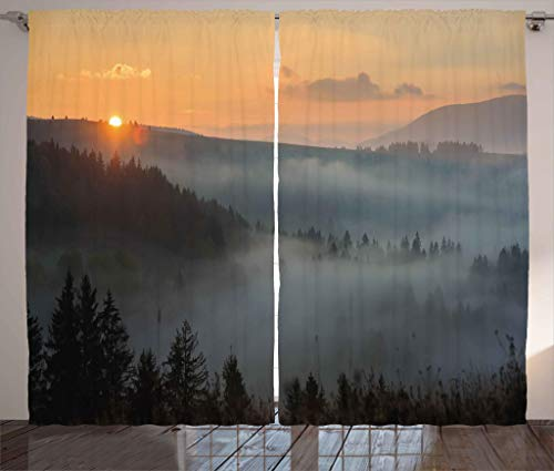 Forest Bedroom - Ambesonne Nature Curtains, Morning at Foggy Mountain Range Sunrise Pine Tree Forest Dramatic Misty Sky Scenery, Living Room Bedroom Window Drapes 2 Panel Set, 108W X 63L Inches, Multicolor