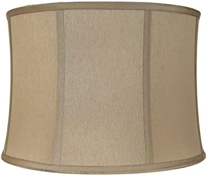 Urbanest Softback Drum Lampshade,Faux Silk, 15-inch by 16-inch by 11-inch, Golden Taupe, Spider Washer Fitter