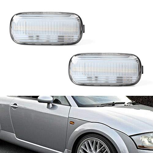 (GemPro 2Pcs Clear Lens Amber LED Side Marker Turn Signal Light For Audi A4 S4 B6 B7 A6 C5 TT A8)