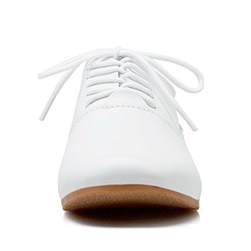 Amoonyfashion Femmes Talons Bas Matériaux Mélangés Solides Lacets Pompes-chaussures Blanc