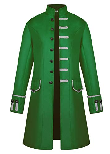 Mens Velvet Vintage Tailcoat Jacket Goth Long Steampunk Formal Gothic Victorian Frock Coat Halloween Costume (Green, XL)