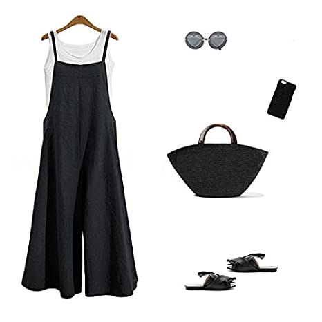 79ada8523f Amazon.com  wvalaxywq Wide Leg Jumpsuits for Women Overalls Plus Size  Halter Casual Sleeveless Loose Wide Long Pants Jumpsuit Rompers  Clothing