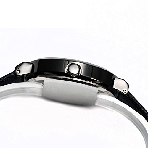 Women's Black Leather Dress Watch,Simple Style Casual Small Wrist Watches for Woman WD260 by DREAMING Q&P (Image #2)