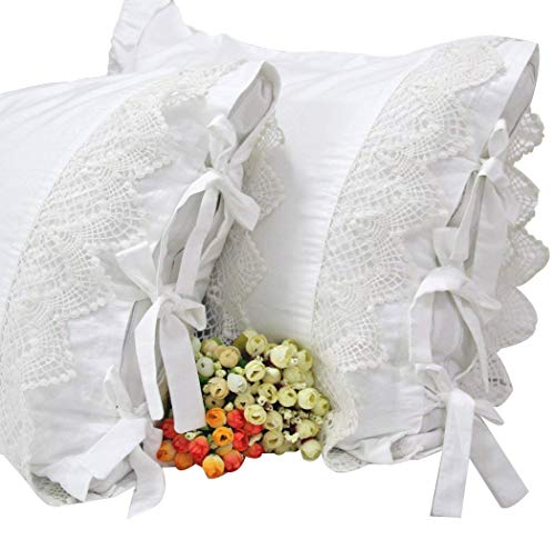 SexyTown White Cotton Pillow Cases Ruffled Pillow 2 Pack Sham (European(26