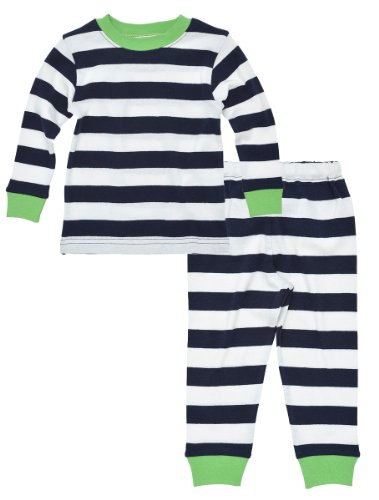 Nile Apparel (Under The Nile Apparel Unisex Baby Long Johns Sleepwear, Navy, 18 Months)