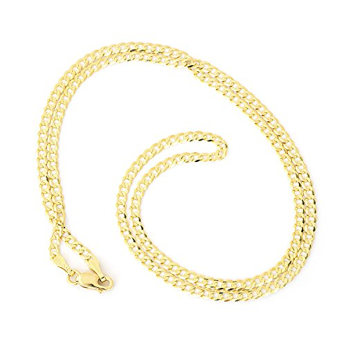 - Unisex Solid 10k Yellow Gold Comfort Cuban Curb 2.6mm Chain Necklace, 20