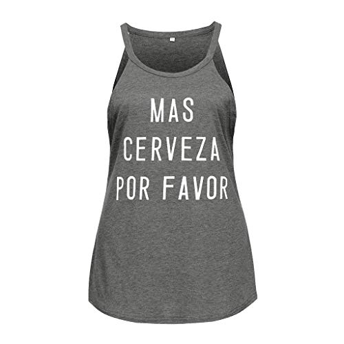 GHrcvdhw Women Summer T-Shirt Letter Printed Camis Short Sleeve O Neck Top Casual Loose Vest Gray