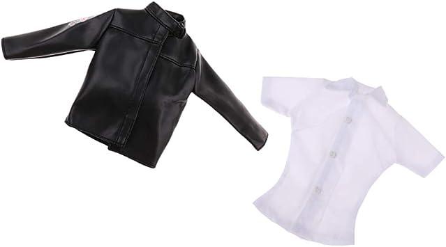 Hellery Chaqueta De Cuero De La PU De La Camisa Blanca 1/6 para Los Juguetes Calientes / Figuras De Acción De 12 Pulgadas De Phicen: Amazon.es: Juguetes y juegos