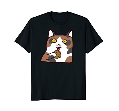 - Calico Cat Eating Cookie T-shirt Kitten Lovers