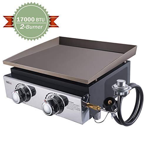 TACKLIFE 18 Inch Tabletop Grill, 17000 BTU Propane Gas Griddle, 2 Adjustable Burners, Stainless Steel Panel, Portable, Camping Picnic, Outdoor Courtyard-TGG02