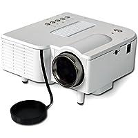 KikPop Mini Projector Support 1080P HD + HD PC USB HDMI AV, Home Cinema Theater Video Projector (White)