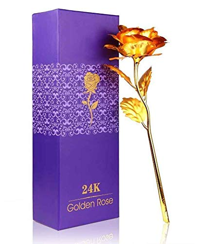 Lavanaya Silver Gold Rose Flower 24K gold With Loving Box Carry Bag,and Wooden bud vase Home & Décor at amazon