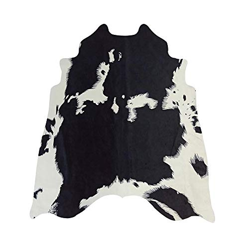 MustMat Western Decor Faux Cow Hide Rug 5.2'X4.6' Black and White Animal Print Fur Skin Carpet for Home