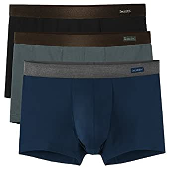 Separatec Men's Trunks 3 Pack Ultra Soft Mens Bamboo Underwear Boxer Shorts with Separate Pouch and Fly (S, Black+Dark Grey+Navy Blue)