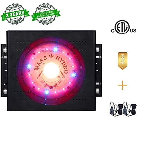 MARS HYDRO COB Led Grow Light 300W CREE Led Growing Lamps Full Spectrum Grow Lights with UV IR for Indoor Plants Hight Par Value-umols Light for Seeding Growing and Flowering