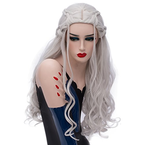 Alacos Fashion Silver White Long Curly Braid Party Anime Cosplay Wigs for Kids Women+Free Wig Cap (Silver White)