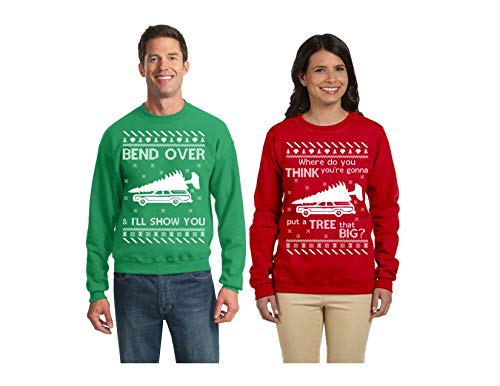 Wild Bobby Tree That Big Bend Over | Christmas Vacation Couples Matching Ugly Christmas Sweater]()