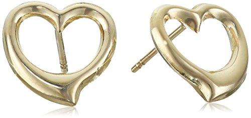 14k Yellow Gold Heart Stud Earrings (18k Yellow Gold Heart Earrings)