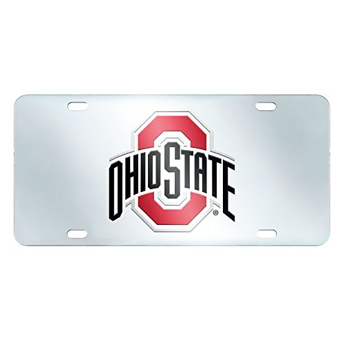 FANMATS NCAA Ohio State University Buckeyes Plastic License Plate (Inlaid) (Fanmats Nba Novelty Mat)