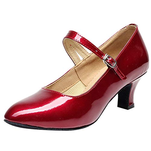 TIFENNY Women's Toe Closed Indoor Tango Rumba Ballroom Dancing Party Shoes Soft Bottom Fashion Glossy Shoes Red