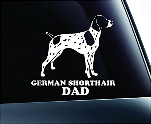 German Shorthair Pointer Dad Dog Symbol Decal Paw Print Dog Puppy Pet Family Breed Love Car Truck Sticker Window (White), Decal Sticker Vinyl Car Home Truck Window Laptop