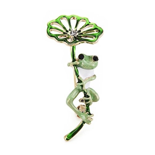 WULI & BABY Enamel Flower Green Frog Brooches for Women and Men