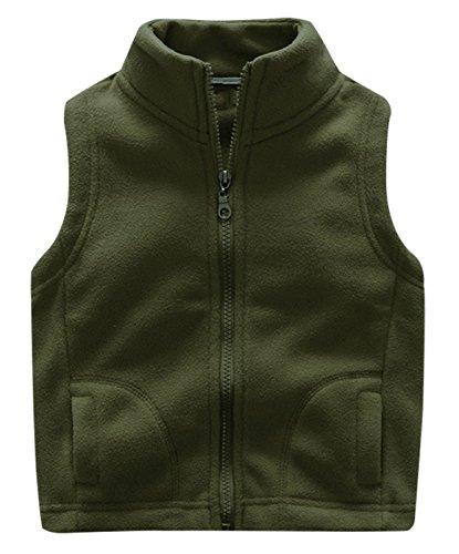 3 4 Length Coats - Aivtalk Little Boys Sleeveless Coat Zipper up Polar Fleece Waistcoat Pocket Vest 3-4T Army Green