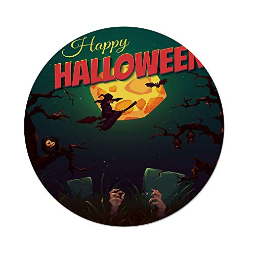 Polyester Round Tablecloth,Halloween,Happy Halloween Poster Design Witch on Broom Mushroom Dead Resurgence Vintage Decorative,Multicolor,Dining Room Kitchen Picnic Table Cloth Cover,for Outdoor Indoo -
