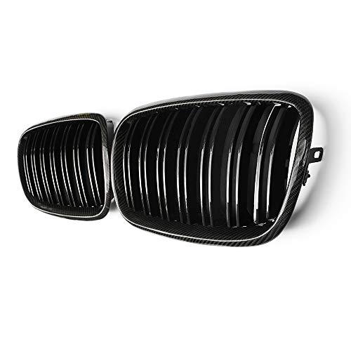 Fandixin E70 Grille, Carbon Fiber Front Kidney Grill Front Bumper Hood Grill for BMW X5 Series E70 X6 Series E71 Gloss Black