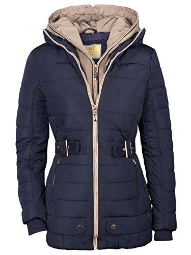 Alaska - Chaqueta larga tipo parca de invierno para mujer, 2 en 1, con capucha azul oscuro