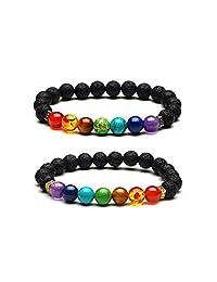 2PCS Lava Stone 7 Chakra Mala Bead Oil Diffuser Bracelet Set Therapy Yoga Healing Gemstone Elastic Ethnic Boho Bangel