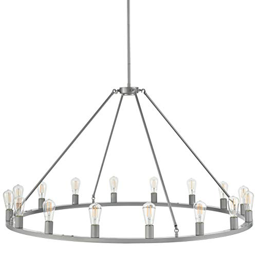 (Sonoro Large 50 inch Round Dining Room Industrial Chandelier | Silver Kitchen Island Light Fixtures with LED Bulbs LL-CH5-50-1SIL)