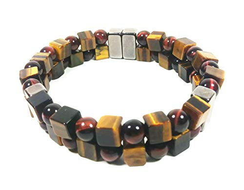 (AURAS BY OSIRIS - Red & Yellow Tiger Eye Bead Bracelet For Men And Women - Double Magnet Clasp - Good Luck & Confidence - Arthritis & Joint Pain)