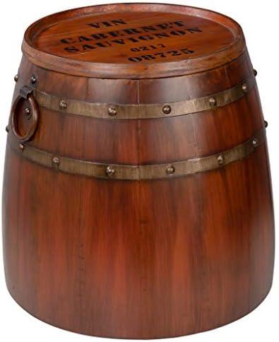 Design Toscano French Vineyard Decor Wine Barrel Side Table, 19 Inch, Full Color