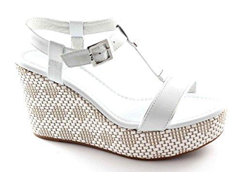 NEGRO JARDINES 15600D mujer negro sandalias de cuña del cuero de zapatos Bianco