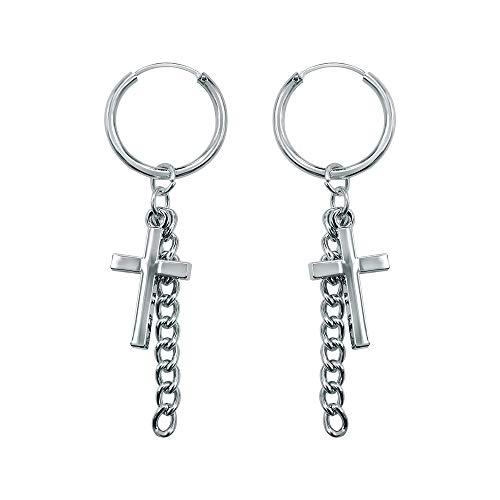 Korean Hoop Earrings Platinum Plating Drop Dangle Earring Tassel Cross Taper Bead Round Earrings for Women (#5)