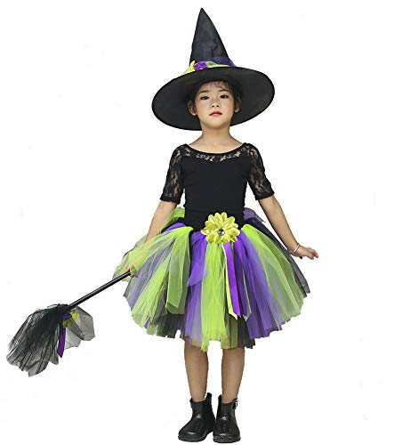 Toddler Witch Tutu Costume (Tutu Dreams Halloween Witch Costume for Little Girls with Hat and Broom (Witch,)