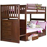 discovery world furniture mission twin over twin staircase bed with 3 drawer storage merlot