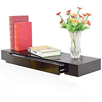 LIANGLIANG Floating Wall Shelves Creative Multifunction Storage Suspension Dressing Table Against The Wall Learning Computer Desk Wood-Based Panels, 6 Sizes (Color : Black, Size : 80X25X8CM)