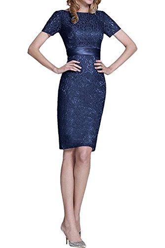 Marie Spitze Brautmutterkleider Blau Knielang Dunkel Etuikleider Kurzarm Abendkleider Promkleider mit Braut La 1dqxwnCC