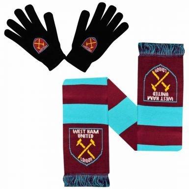 West Ham United Winter Warmers Gloves /& Scarf Set