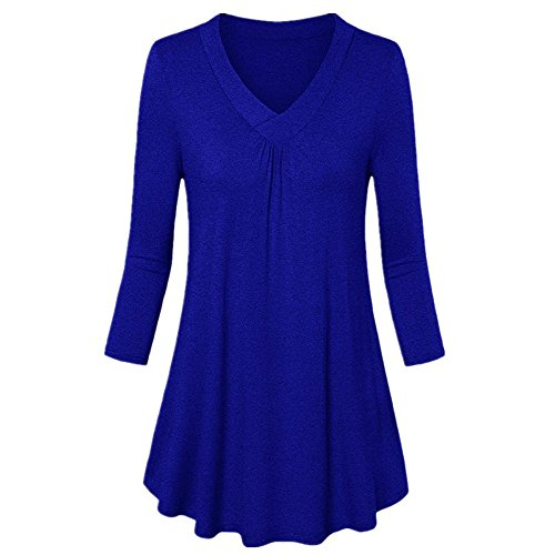 (Clearance Women Tops LuluZanm Loose Tunic Top With Kangaroo Pocket Shirt Women 3/4 Sleeve V Neck Hoodie Bloues)