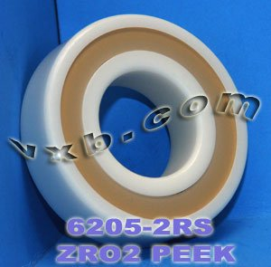 6205-2RS Full Ceramic Sealed Bearing 25x52x15 ZrO2/Si3N4 Ball by VXB