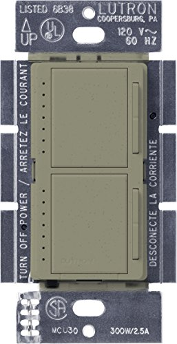 Lutron Maestro Dual Dimmer Switch for Incandescent and Halogen Bulbs, 300-Watt, Single-Pole, MA-L3L3-GB, Greenbriar