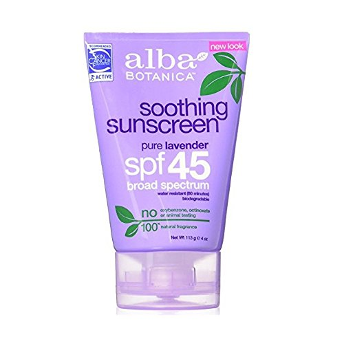 Alba Botanica Scented Sunscreen - Alba Botanica Soothing Sunscreen, Pure Lavender SPF 45, 4oz (Pack of 9)