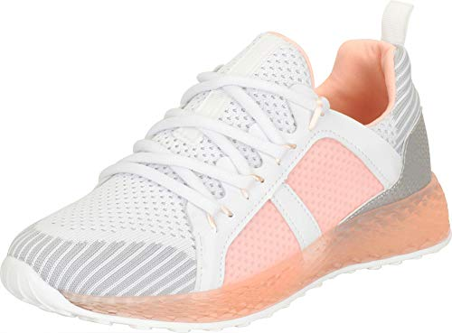 Cambridge Select Women's Low Top Print Colorblock Lace-Up Casual Sport Fashion Sneaker,7 B(M) US,Blush