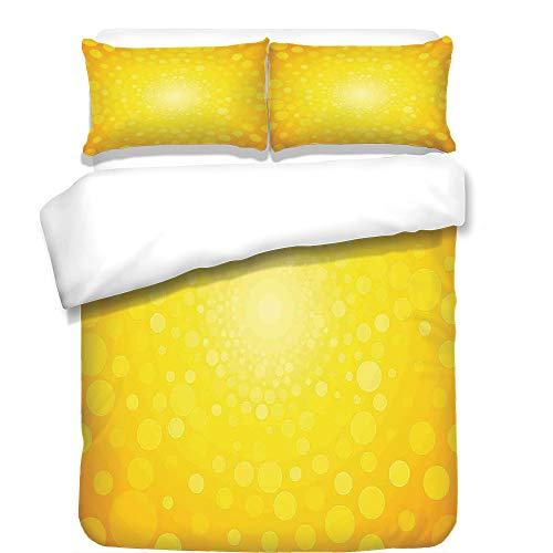 iPrint 3Pcs Duvet Cover Set,Yellow,Vibrant Burst Circles and Dots Abstract Warm Solar Polka Sunrise Artful Print,Orange Yellow,Best Bedding Gifts for Family/Friends by iPrint
