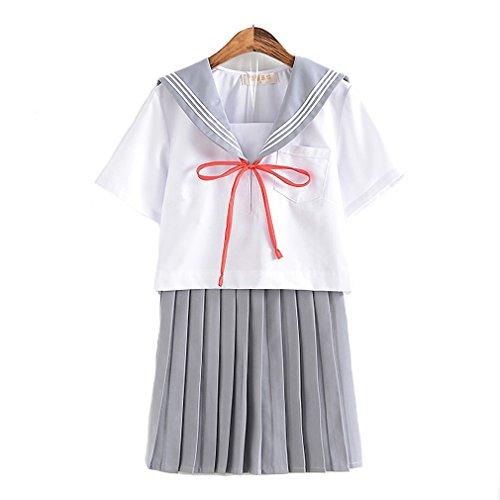 mewow Halloween Costume Women's Sailor Suit Dress up Students Cosplay School Uniform (L, Grey -
